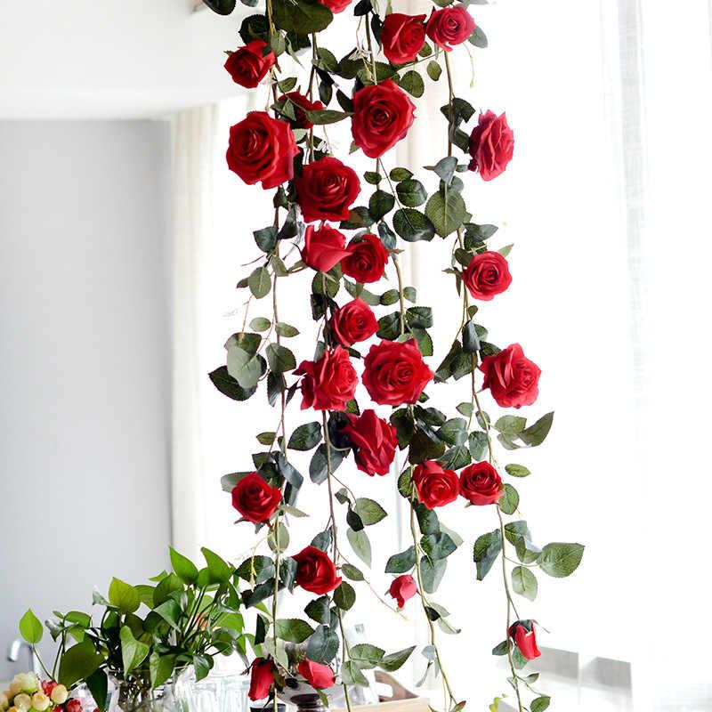 180 センチメートル人工ローズフラワー結婚式の装飾リアルタッチのシルクの花ストリング葉ホームハンギング装飾