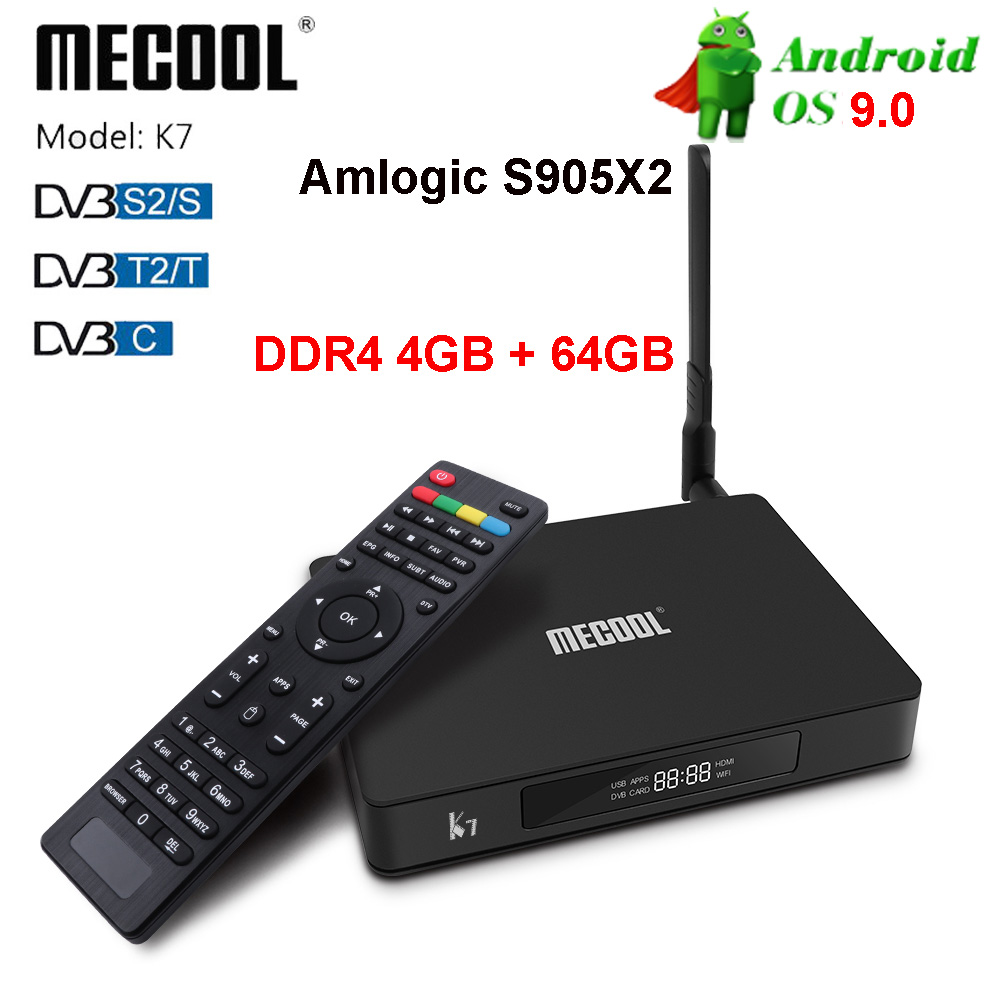 Mecool K7 Android 9.0 Tv Box Amlogic S905X2 DDR4 4GB 32GB BT4.1 2.4G 5G Wifi 1000M Set Top Box DVB-S2/T2/C Cccam Media Player