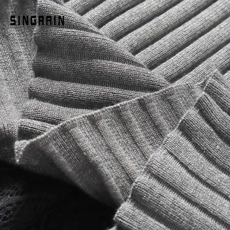 Singrain Wanita Rajutan Sweter Rok Midi Garis Renda Rok Pensil Pinggang Tinggi Merajut Celana Elastis Musim Gugur Hangat Rok Musim Dingin