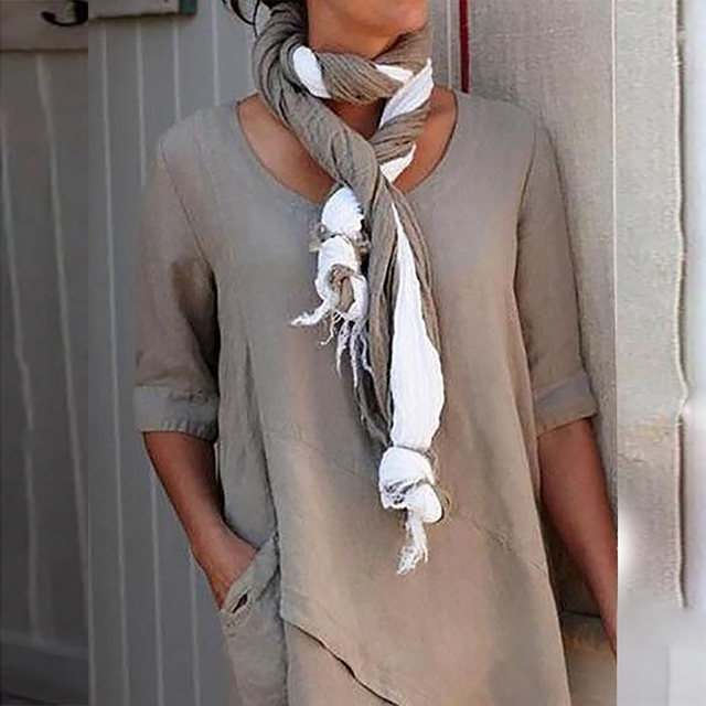 Irregular Hem Solid Loose Woman Blouses Shirts Vintage Casual O-Neck Long Sleeve Shirts Tops Elegant Vintage Female Blouses Robe 3
