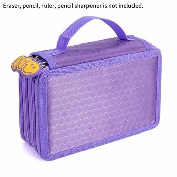 学校ペンケース大容量 3 層 52 穴学生ペン鉛筆ストレージジッパーケースホルダーオフィス学用品 -