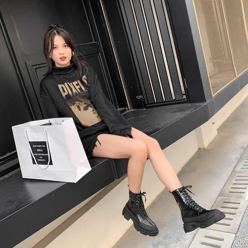 Mùa Đông 2019 Mới Đáy Dày Giày Bốt Cổ Ngắn Tăng