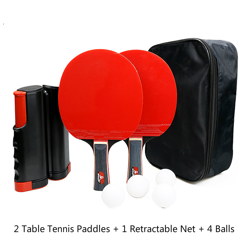 Portable Ping Pong Racket Set Table Tennis Blade of 2 Long Handle Ping Pong Paddles + 1 Retractable Net + 4 Table Tennis Balls