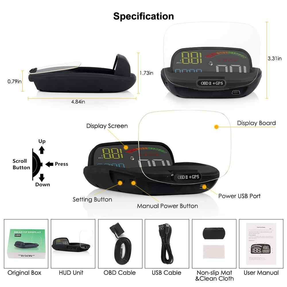 Дисплей Головы OBD II gps сигнализация спидометра функция практичная 2 в 1 HD C800 бортовой компьютер скорость проектор автомобиля HUD