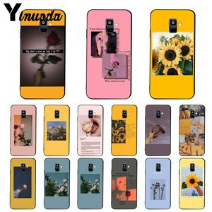 Yinuoda Great Aesthetic art Pink Yellow Sunflower Rose PhoneCase For Samsung Galaxy A7 A50 A70 A40 A20 A30 A8 A6 A8 Plus A9 2018