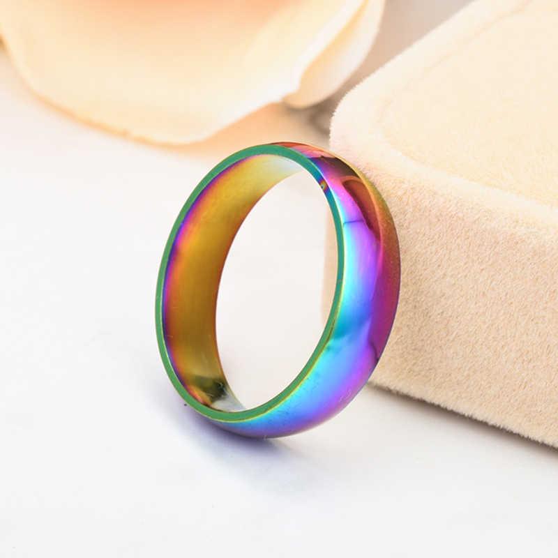 แฟชั่นเรียบง่ายสีสันสดใสสแตนเลส 6 มม.คู่แหวนผู้หญิงผู้ชายเครื่องประดับวันเกิดวันหยุดของขวัญ