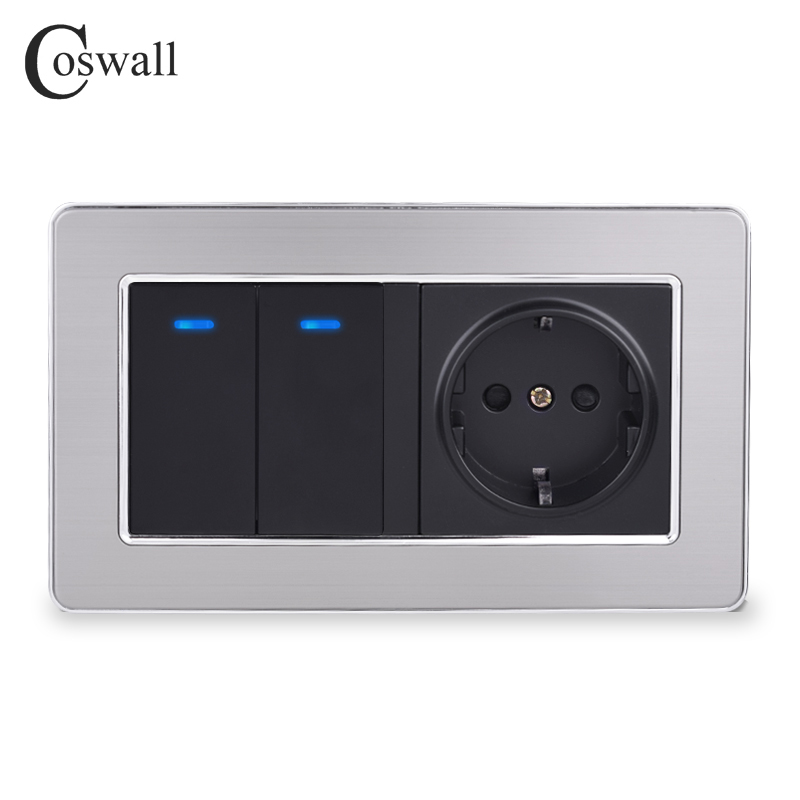 Coswall EU Standard Wall Power Socket + 2 Gang 1 Way On / Off Light Switch With LED Indicator Stainless Steel Frame 146mm*86mm