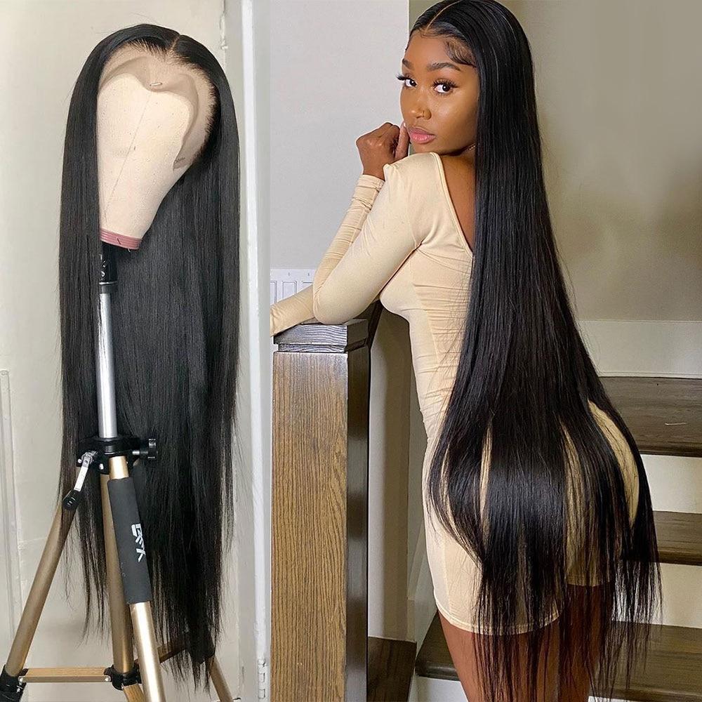 Perruque de cheveux humains droite en os Hd brésilienne 30 40 pouces perruque avant en dentelle courte Bob dentelle frontale perruques de cheveux humains pour les femmes noires perruque