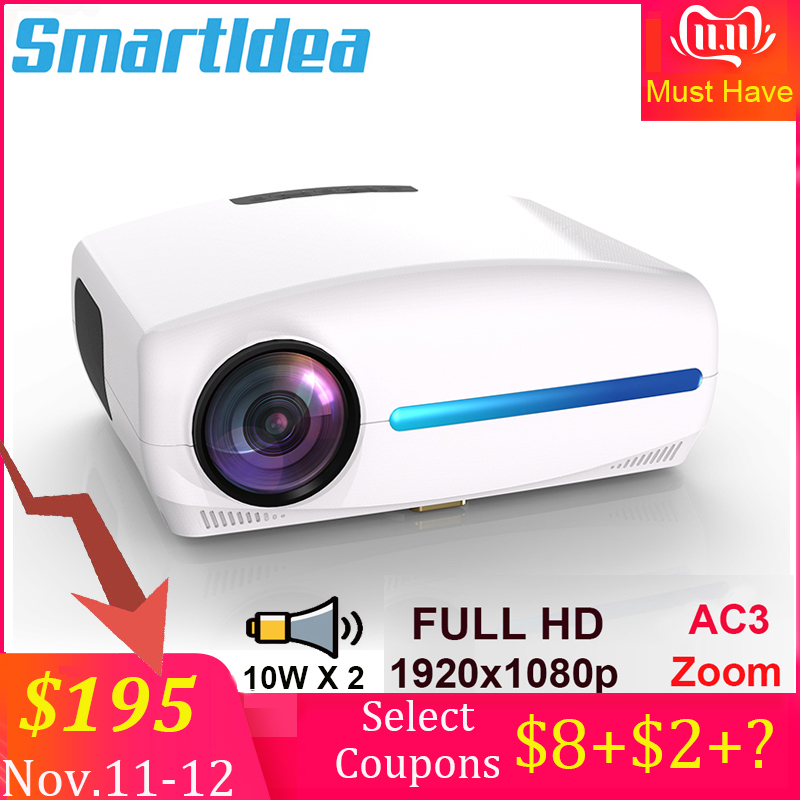 Smartldea 1080P 4K Full HD Projector,Android 9.0 Optional,1920x1080P Resolution 6500lumen,LED Proyector Home Theater,3D Beamer-in LCD Projectors from Consumer Electronics