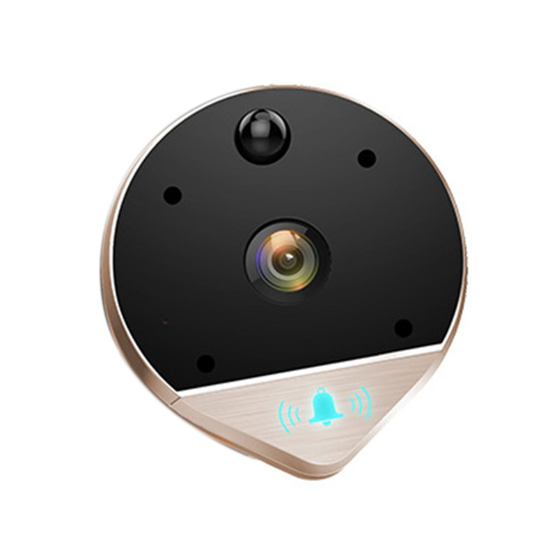 Anti Theft Wide Angle Peephole Smart Video Wifi Wireless Doorbell Remote Monitoring Visual Infrared Detector Intercom Electronic Doorbell     - title=