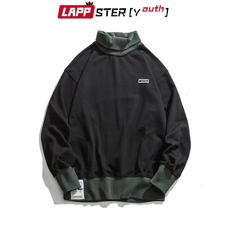 LAPPSTER-Youth Men Turtleneck Hoodies 2020 Mens Color Bock Streetwear Sweatshirts Male Korean Fashions Hip Hop Loose Hoodies 5