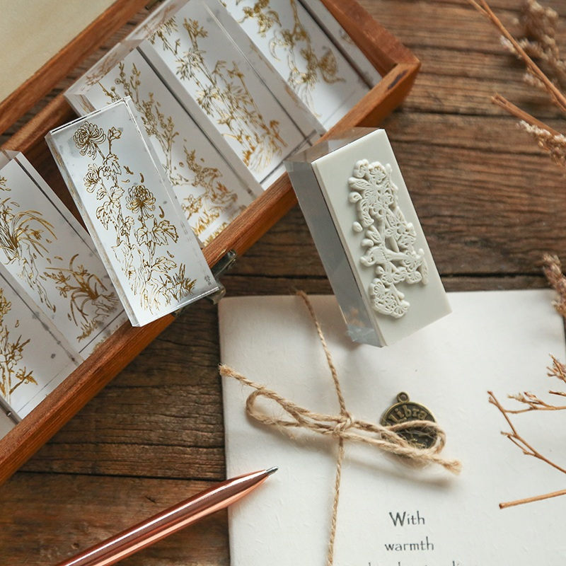 JIANWU Acrylic Clear Stamp Block Four Season Plants Flowers Transparent Seal Stamp for DIY Scrapbook