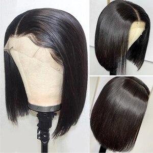 Image 3 - HJ de la belleza de la armadura de la corta del pelo humano del frente del cordón pelucas peluca Bob con arrancó cabello Cierre de encaje de pelo brasileño peluca