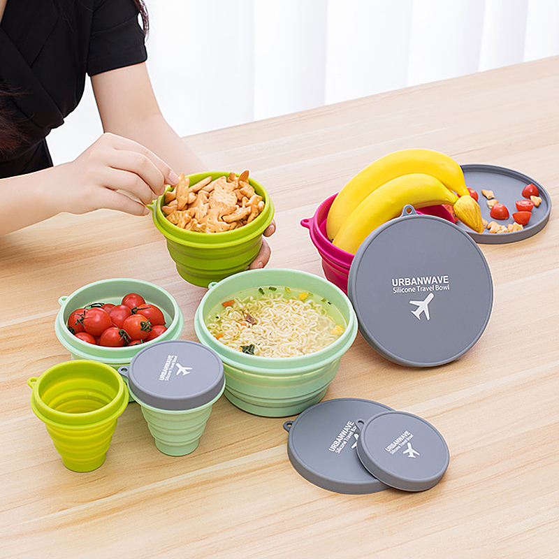 Portable Travel Silicone Cup Accessories Foldable Portable Camping Water Fruit Instant Noodles Container Supplies Items  Product