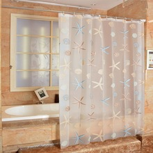 2020 New 3D Clear Waterproof Mildew Bathroom Curtain Seaside Style Shower Curtain Modern  New
