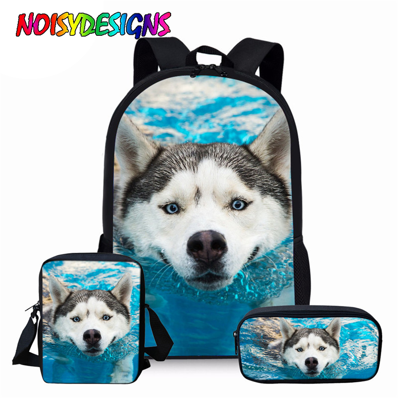 NOISYDESIGNS Funny 3D Dog Husky Print Boys Girls Backpack Set For Teenagers Middle School Student Book Shoulder Bag Kids Bagpack