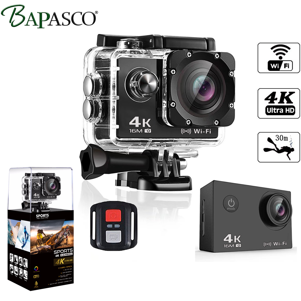 BAPASCO Ultra HD 4K WIFI gopro Hero 4 Style Allwinner V3 2.0 LCD 170 lens diving waterproof 30M DV helmet cam motion camera-in Sports & Action Video Camera from Consumer Electronics