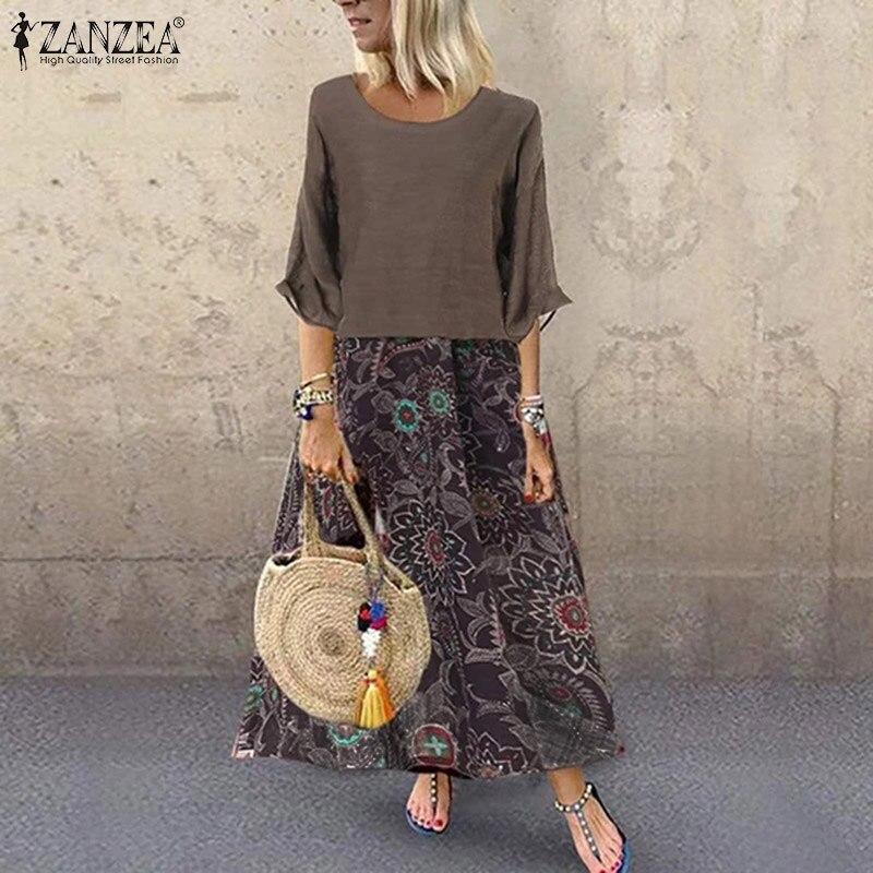 ZANZEA Women Cotton Linen Long Maxi Dress Vintage Print Vestidos Ladies 2019 Summer Sundress Casual Baggy 2 Pieces Robe Femme