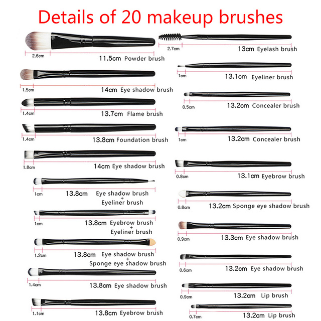 20pcs/set Makeup Brushes Set Eye Shadow Foundation Powder Eyeliner Eyelash Lip Make Up Brush Cosmetic Beauty Tool Kit Hot 3
