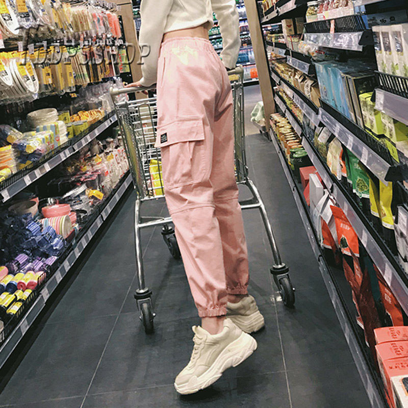 Cotton High Waist Cargo Pants 2019 Spring Pink Khaki Black Female Trousers title=