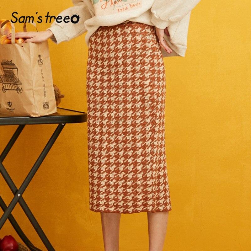SAM'S TREE Plaid Split Back Korean Style Knit Skirt Women Clothes 2019 Autumn A Line British Skinny Office Ladies Skirts