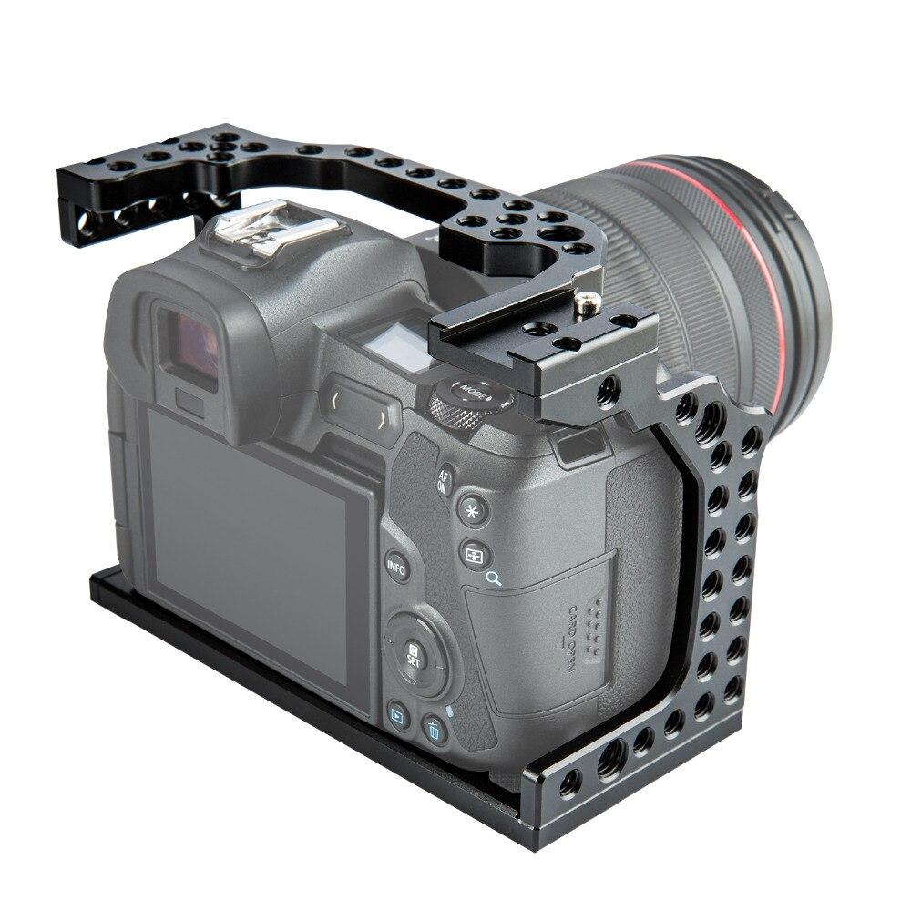 Caméra en aluminium Cage Film vidéo Film faisant la plate-forme stabilisateur pour Canon EOS R monture de chaussure froide bras magique Microphone moniteur - 3