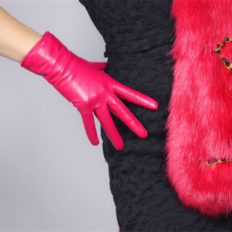 Women  Real Leather Gloves 25cm Short Goatskin Thin Velvet Lined With Purple Red Rose Red MH-S00193
