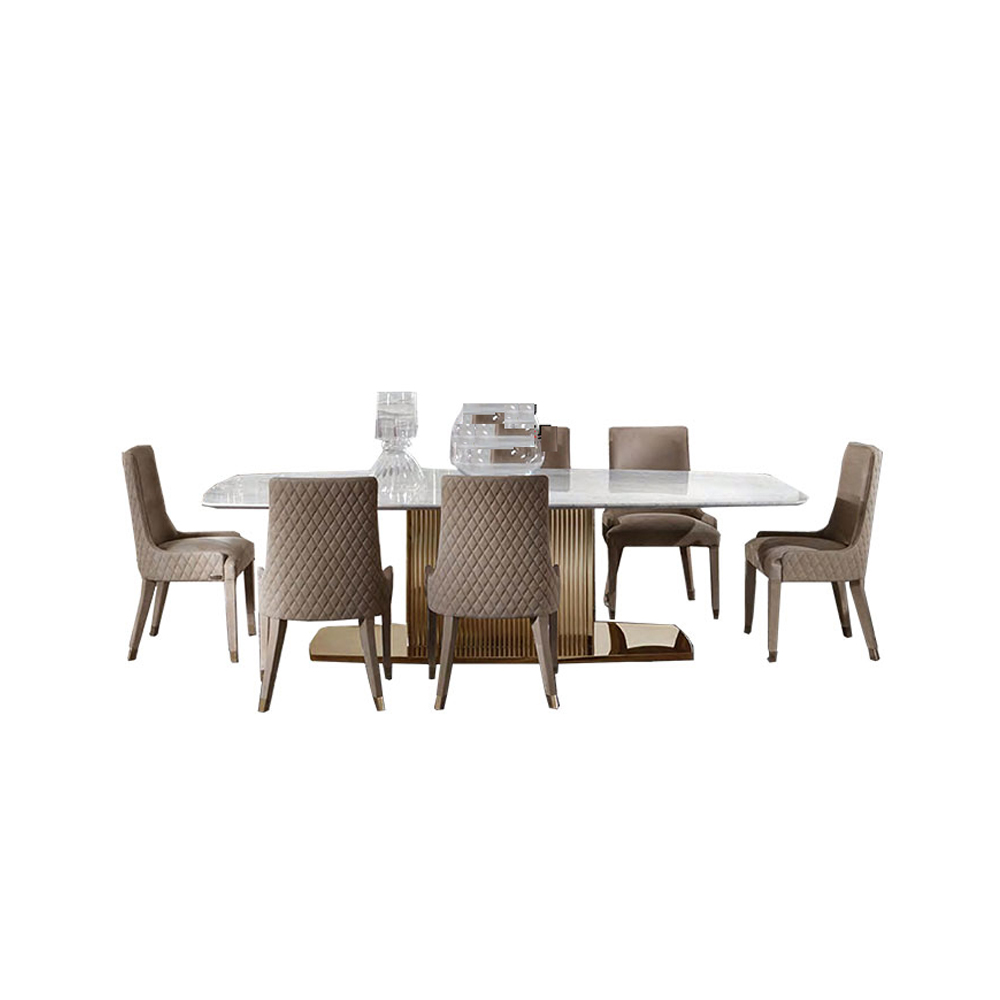 US $2374.05 5% OFF|dining table set comedor sillas de comedor стол  обеденный mesa comedor muebles de madera mesa gold stainless steel + 6  chairs on ...