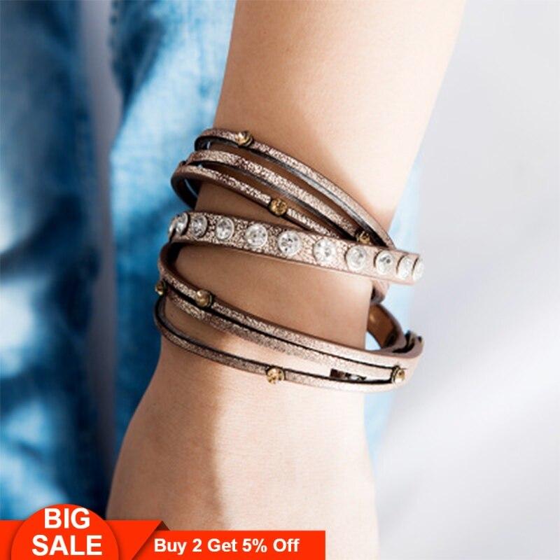 Fever&Free Retro Vintage Color Rhinestone Friendship Bracelet Luxury Charm Crystal For Men Women Punk Jewelry Wholesale