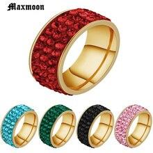 Maxmoon Vintage Red circón Piedra Negro verde rosa azul dedo anillos para hombre moda masculina Acero inoxidable joyería Anel
