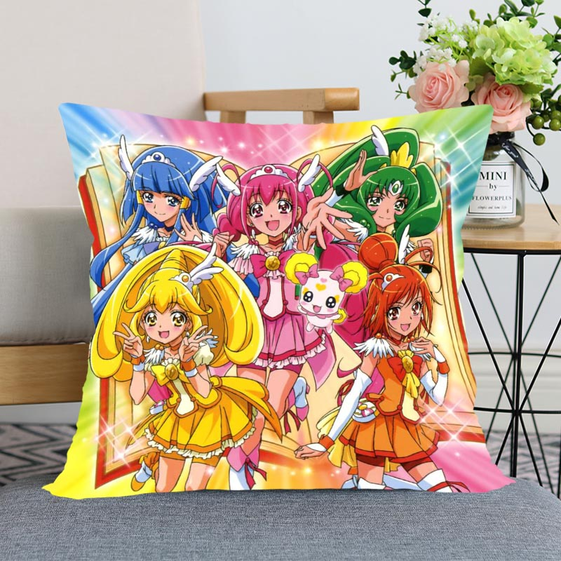 2020 New Smile Precure! Anime Pillow Cover Bedroom Home Office Decorative Pillowcase Square Zipper Pillow Case Satin Soft Cover