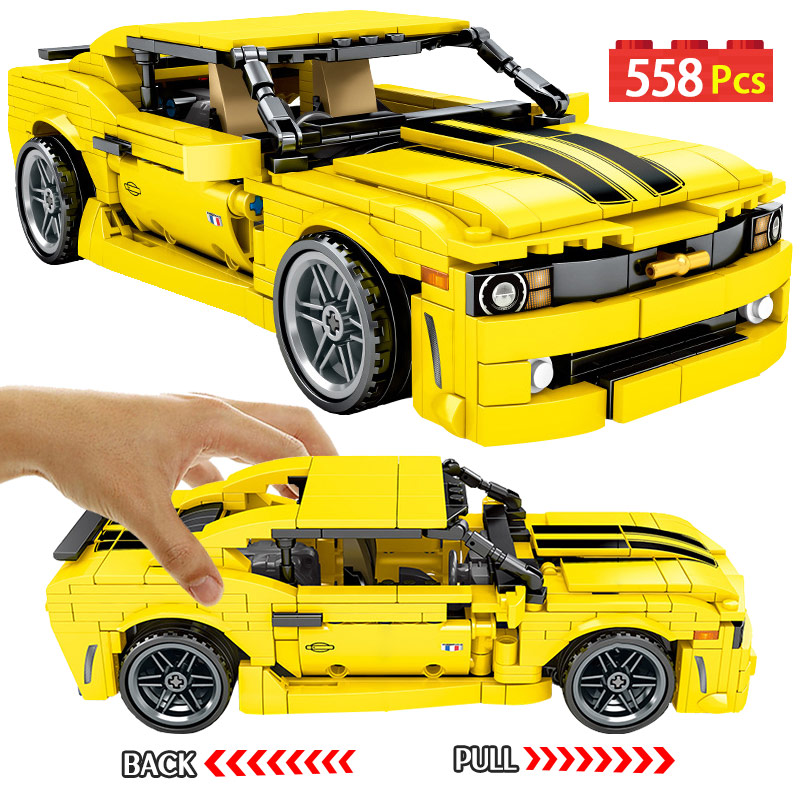 558pcs Creator Yellow Pull Back Sports Car Model Building Blocks Legoing City Technic Car Enlighten Bricks Toys For Boys