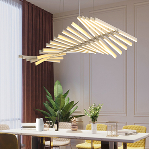 Image 1 - Black/White LED Pendant Light For Dining Living Room Home Deco Fishbone lamp Modern Creative Aluminum Hanging Lamps AC90V   260V