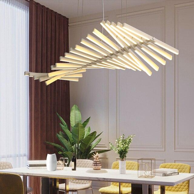 أسود/أبيض قلادة LED ضوء لغرفة المعيشة الطعام المنزل ديكو هيكل السمكة مصباح الحديثة الإبداعية الألومنيوم معلقة مصابيح AC90V   260 فولت