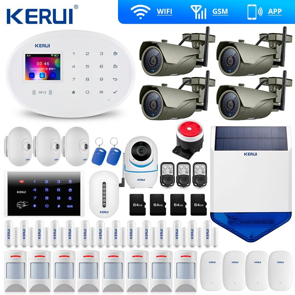 KERUI 7 pouces K7 écran tactile affichage WIFI GSM système d'alarme ISO Android App télécommande alarme à domicile sécurité extérieure Wifi caméra