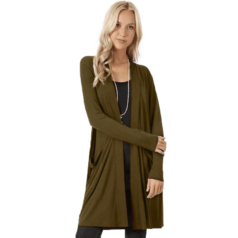 Solid Cardigan  Middle Length Women's Autumn Long Sleeved Thin Loose Coats Outwear Pocket Women's Cardigan Long 2