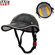 Motorcycle Half Face Helmet Mens PU Leather Shockproof Adjustable Electric Scooter Riding Protective Gear