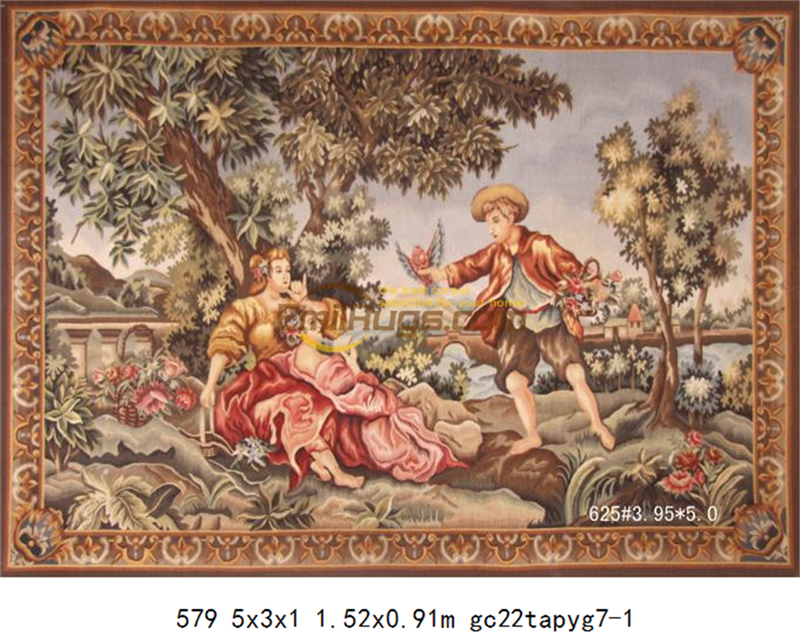 Tapestry Antique European Aubusson Art Brown Fashionable Circular Household Decoration Mat Woven Tapestry floor Kits - 3