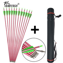 12pcs 31.5inch Archery 500 Spine Aluminum Arrows With Arrow Quiver 100grain Steel Arrowhead For Bow Hunting Shooting Accessories