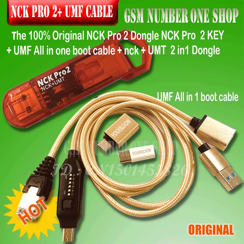 100% 2019 Original NCK Pro Dongle NCK Pro2 Dongl Nck Key NCK DONGLE+UMT DONGLE 2 In1 +umf All In Boot Cable Fast Shipping