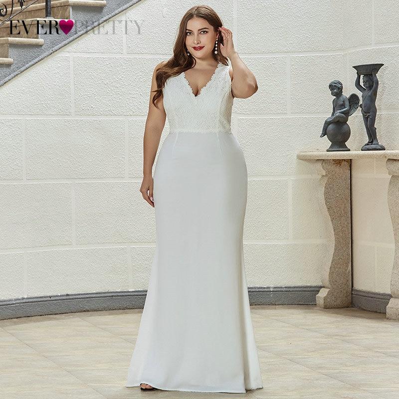Plus Size Lace Wedding Dresses Ever Pretty EP07385CR Ruched V-Neck Sleeveless Sweep Train Elegant Bride Gowns Vestido De Noiva