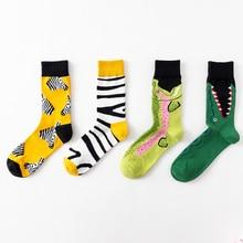 50Pairs/Lot Cotton Men Women Fashion Funny Socks Human Art Autumn Long Crew Salmon Zebra Lovers Happy Character