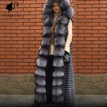 Fashion Winter Thick Warm Real Silver Fox Vest New Arrival Women Coat Natutal Fur High-Grade Big Hooded Long Customize