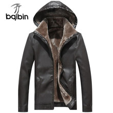 Winter Leather Jacket Men Thicken Fleece Warm Hooded Fur Coat Male Outerwear Thick Windproof Motorcycle Biker Leather Jackets(China)
