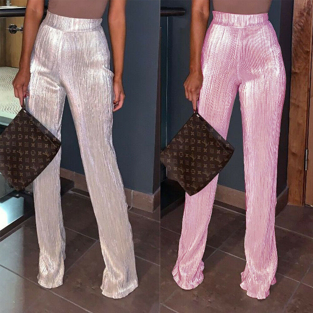 2019 Brand New Womens Shiny Sequined Style High Waist Zipper   Wide     Leg     Pants   Party Solid Sparkly Silver Trousers Plus Size