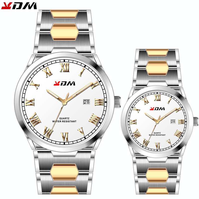 KDM Couple Gift Watch Simple Fashion Casual Steel Band Calendar Waterproof Pairs Wirstwatches Reloj Para Parejas Luxury Brand