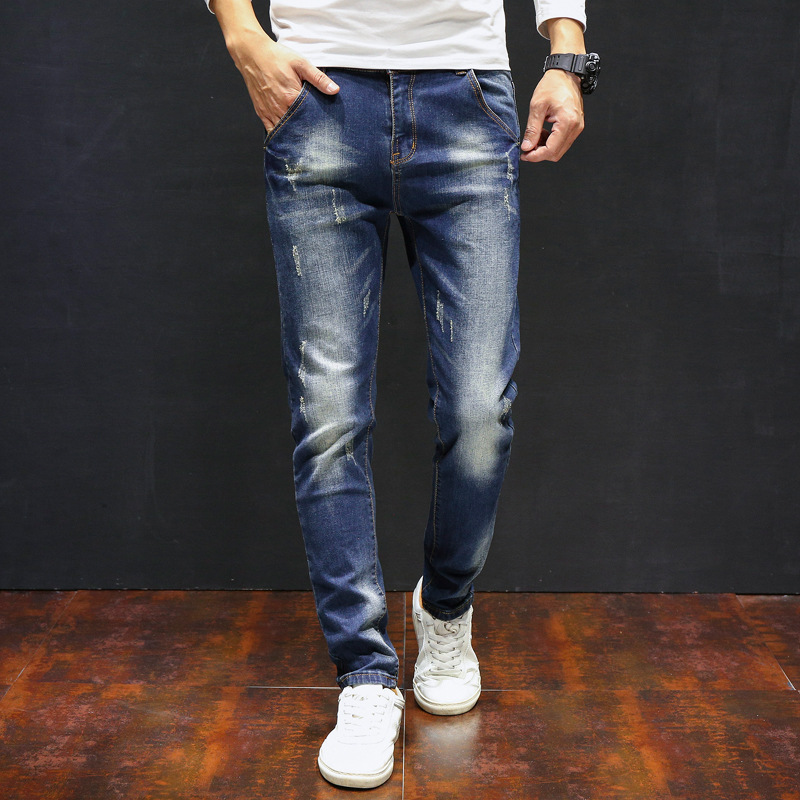 Autumn And Winter New Style With Holes Jeans Men Slim Fit Pants Youth Elasticity Casual Korean-style Versatile Trend Pants Men's