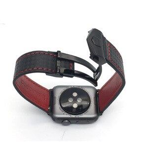 Image 2 - AKGLEADER Correa de cuero genuino de fibra de carbono para reloj, pulsera para Apple Watch Series 4, 5, 6, 40mm, 44mm, Series 3, 2, 38/42mm
