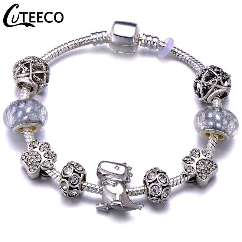 CUTEECO Европейский Любовь Сердце Шарм Браслеты и браслеты новые Марано бусины fits Дизайнерские Браслеты Женские Модные Ювелирные изделия Подарки - Окраска металла: AJ3295