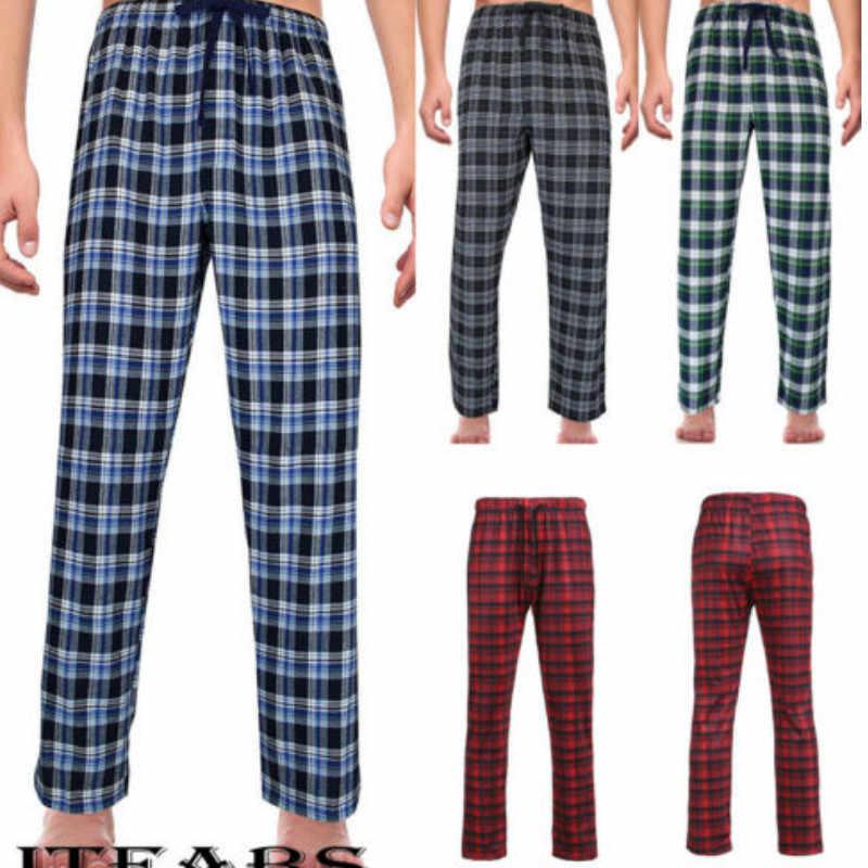 Pantalones De Dormir Holgados Para Hombre Ropa De Descanso A Cuadros De Franela Informal Talla M 2xl Partes De Abajo Para Dormir Aliexpress